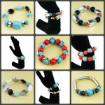 Mixed Turquoise & Gemstone Glass Bead Stretch Bracelets