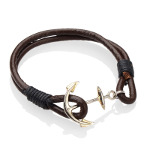 Genuine Two-Strand Brown Leather Silver Ship Anchor Bracelet
