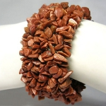 Genuine Goldstone Gemstone Chip Stretch Bracelet