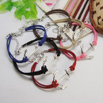 Mixed Adjustable Suede Cord Ship Nautical Anchor Bracelets