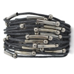 Punk Biker Faux Black Leather Strap & Zinc Alloy Accent Bracelet