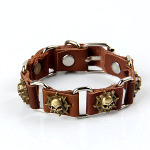 Brown Leather Bronze Skull Biker Punk Adjustable Bracelet