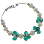 Delicate Genuine FW Pearl & Faceted Crystal Bracelet ~ Green