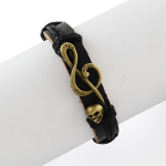 Adjustable Genuine Black Leather Bracelet Music G Clef & Skull
