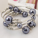 Adjustable Pearl Bead & Silver Wrap Bracelet ~ Dark Gray