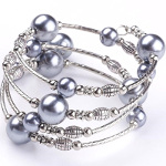 Adjustable Pearl Bead & Silver Wrap Bracelet ~ Gray