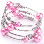 Adjustable Pearl Bead & Silver Wrap Bracelet ~ Pink