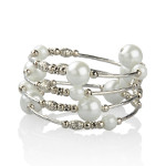 Adjustable Pearl Bead & Silver Wrap Bracelet ~ Bridal White