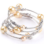 Adjustable Pearl Bead & Silver Wrap Bracelet ~ Yellow