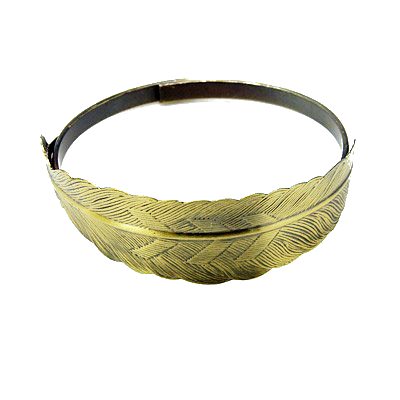 Antiqued Bronzed Solid Brass Feather Cuff Metal Bracelet