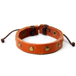 Gold Studded Brown Leather Adjustable Surfer Bracelet