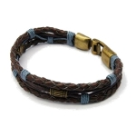 Genuine Braided Blue Brown Leather & Gold Tone Clasp Bracelet