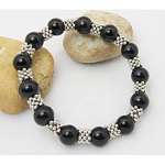 Black Onyx Tibetan Silver Spacers Stretch Bracelet