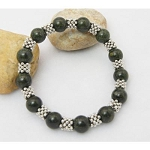 Green Bloodstone Gemstone Tibetan Silver Spacer Stretch Bracelet