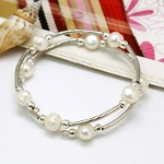 Adjustable White Freshwater Pearl & Silver Wrap Bracelet