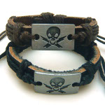 Mixed Adjustable Genuine Leather Skull Punk Biker Bracelets