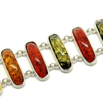 Faux Amber 8 Oval Gemstone Silver Tone Toggle Clasp Bracelet