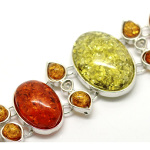 Faux Amber Mixed Gemstone Silver Tone Toggle Clasp Bracelet