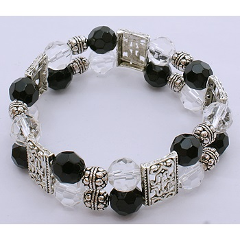 Elegant Black White Crystal & Tibetan Spacer Stretch Bracelet