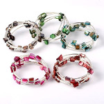 Adjustable Wrap Silver Tone Spacer Luster Shell Beads Bracelets