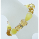 Cats&#39 Eye AB Glass & Rhinestone Stretch Bracelet ~ Yellow