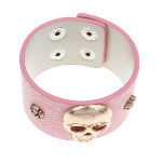 Pink Imitation Leather Wide Gold Skull & Roses Snap Bracelet