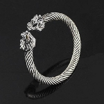 Flexible Silver Tone Metal Asian Dragon Head Bangle Bracelet