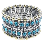 Renaissance Style Rhinestone Beaded Stretch Bracelet ~ Blue