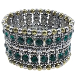 Renaissance Style Rhinestone Beaded Stretch Bracelet ~ Green