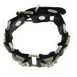 Black Leather Punk Biker Adjustable Relief Cross Bracelet