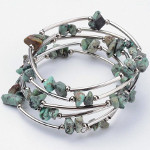 Adjustable Gemstone Chip & Silver Wrap Bracelet ~ Turquoise