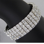 4-Row Clear Rhinestone Elegant Stretch Bracelet