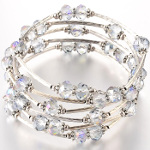 Adjustable Longer Faceted AB Iridescent Crystal Wrap Bracelet