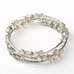 Adjustable Faceted Crystal & Silver Bead Wrap Bracelet