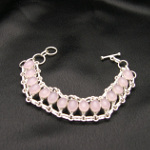 Artist-Crafted Sterling Silver & Pink Quartz Chain Bracelet