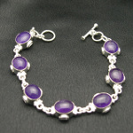 Artist-Crafted Sterling Silver & Purple Amethyst Cab Bracelet