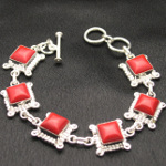 Artist-Crafted Sterling Silver & Red Coral Chain Bracelet