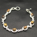 Artist-Crafted Sterling Silver & Tiger's Eye Cab Chain Bracel