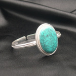 Artist-Crafted Sterling Silver & Large Turquoise Cab Bracelet