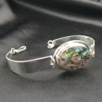Artist-Crafted Sterling Silver & Iridescent Paua Shell Bracelet