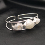Artist-Crafted Sterling Silver & Moonstone Adjustable Bracelet