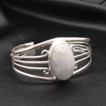 Artist-Crafted Sterling Silver & Large Oval Howlite Bracelet