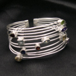Artist-Crafted Sterling Silver & Multi Gemstone Boho Bracelet