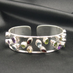 Artist-Crafted Sterling Silver & Multi Gemstone Band Bracelet
