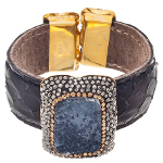 Black Leather 14K Gold over Sterling Silver Druzy Bracelet