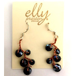 Designer Elly Preston Aurora Borealis Black Bead Earrings
