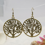 Natural Tree of Life Silhouette Medallion Earrings ~ Bronze Tone