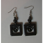 Retro Art Deco Non-Magnetic Hematite Square Earrings