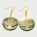 Genuine Abalone Shell Gold Plated Fleur-de-Lis Dangle Earrings