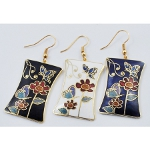 Mixed Cloisonne Enamel Butterfly Earrings